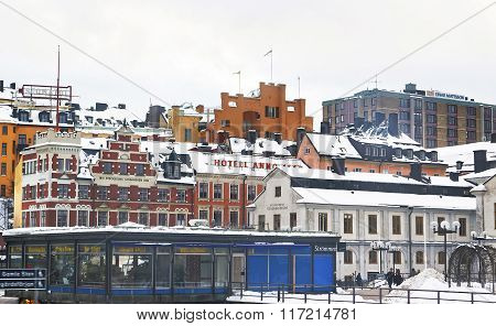 STOCKHOLM SWEDEN - JANUARY 5 2011: Sodermalm and Stockholm City Museum in winter. Stockholm is the capital of Sweden and the most populous city in the Nordic region. Selective focus
