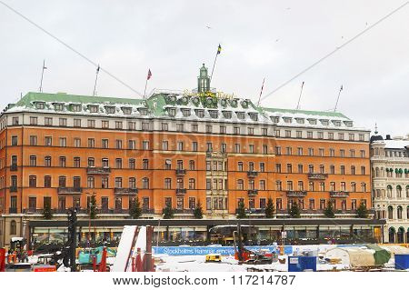STOCKHOLM SWEDEN - JANUARY 5 2011: Grand Hotel in winter Gamla Stan of Stockholm. Stockholm is the capital of Sweden and the most populous city in the Nordic region.