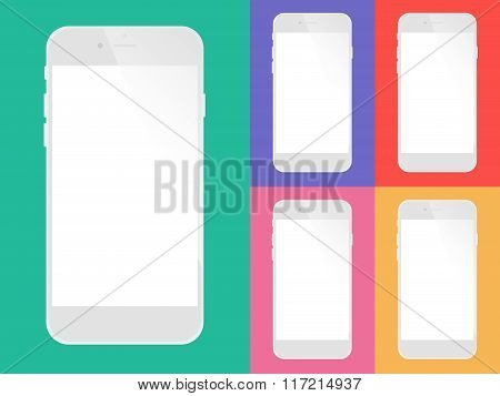 Set Of Mobile Phones With Blank Screen.