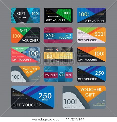Gift voucher template with modern pattern design. Vector illustration