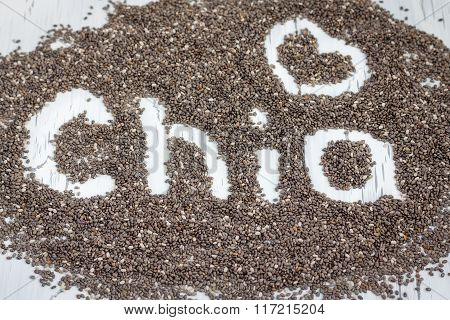 Word Made From Chia Seeds On A White Background