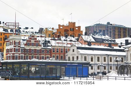 STOCKHOLM, SWEDEN - JANUARY 5, 2011: Sodermalm and Stockholm City Museum in winter. Stockholm is the capital of Sweden and the most populous city in the Nordic region. Selective focus.
