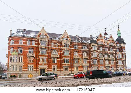 COPENHAGEN DENMARK - JANUARY 5 2011: Street View on Andersens Boulevard in winter Copenhagen