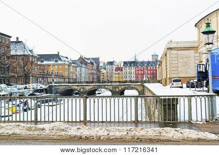 Waterfront And Bridges In Copenhagen In Denmark In Winter