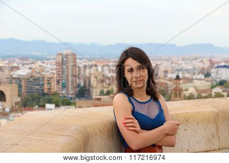 Girl on the background of Valencia, Spain