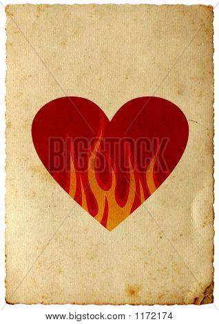 Card With Heart In Flames
