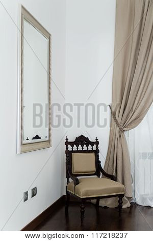 Night Vintage Classic Wooden Chair In Corner And Mirror