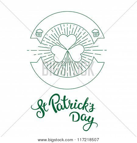 Label In Linear Style And Original Lettering  St. Patricks Day.