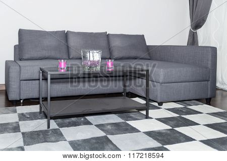 Cozy Corner In A Modern Sitting Room Or Living Room With Sofa