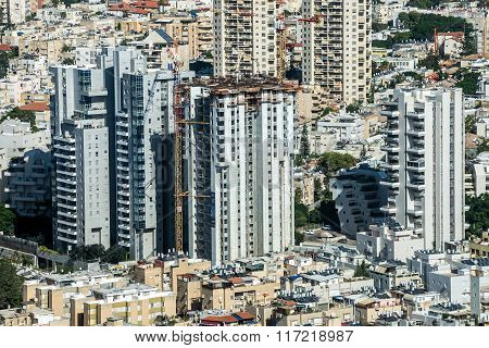 TEL AVIV, ISRAEL - 21 OCTOBER, 2015: Aerial view of Tel Aviv city in Israel