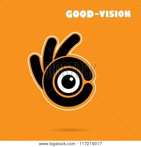 Creative Hand Icon Abstract Logo Design Vector Template.vison Sign.hand Ok Symbol Icon.corporate Bus