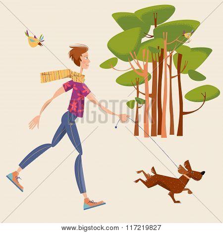 Man Walks A Dog In A Park. Landscape.
