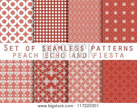 Set Of Seamless Patterns. Peach Echo And Fiesta Color. Color Trend In 2016. Geometric Seamless Patte