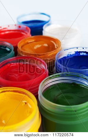 Jars With Colored Gouache
