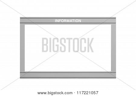 Blank information board isolated on white backgrounf