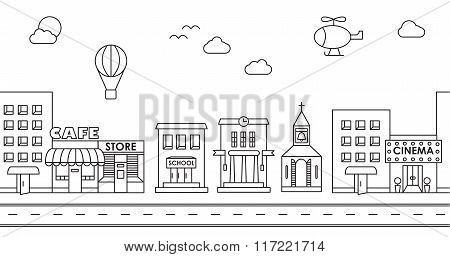 Seamless Pattern Of The Buildings. Background For Game. Cafe, Cinema, Store, Church, Apartment House