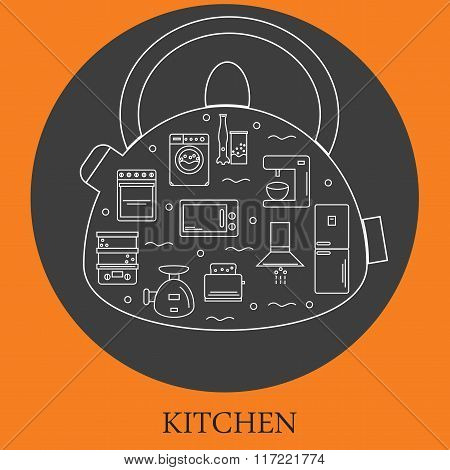 Kitchen appliances. Icons of kitchen equipment located in a kettle-style line.
