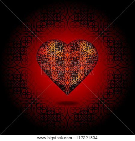 Volume Heart. Pattern On Surface. Red And Black