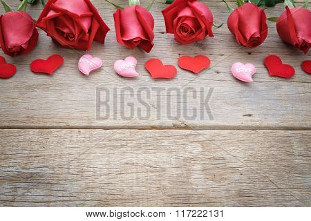 Roses With Red And Pink Heart On Wooden. Valentine's Day, Anniversary Etc Background.