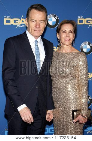 Bryan Cranston and Robin Dearden at the 68th Annual Directors Guild Of America Awards held at the Hyatt Regency Century Plaza in Los Angeles, USA on February 6, 2016.
