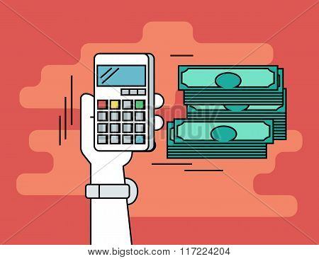 Pay per click. Flat line contour illustration of calculating money