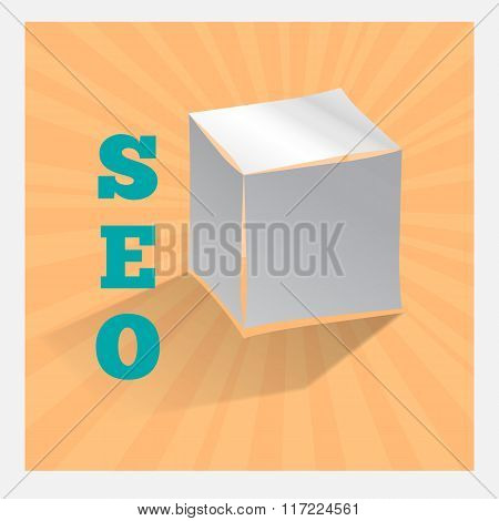 Paper origami cube on orange. SEO icon with shadow. Search Engine Optimization symbol. Vector