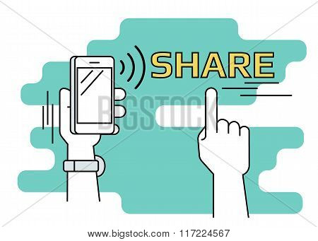 People sharing data and mobile apps via smartphone with nfc function