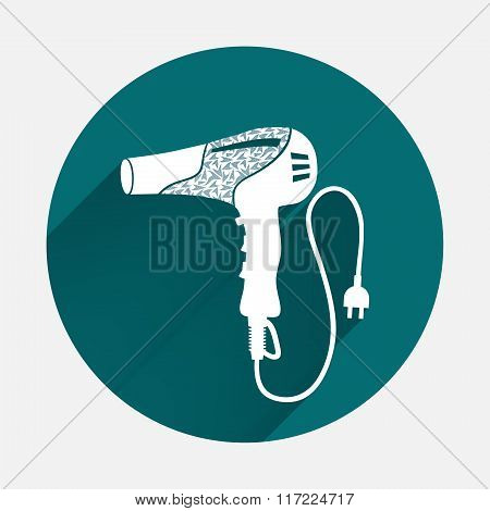 Professional blow hairdryer and two-pin plug icon. Turquoise, white colored sign on gray-blue button