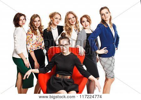 pretty women in business suits and dresses posing isolated on white background
