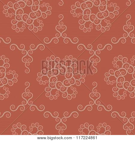Seamless lace pattern. Vintage swirl texture. Spiral floral snowflakes. Twist ornament of laurel lea