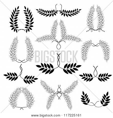 Laurel wreath tattoo set. Black ornaments twelve signs on white background.  Victory, peace, glory s