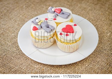 Cupcakes With Teddy Bear On Plate