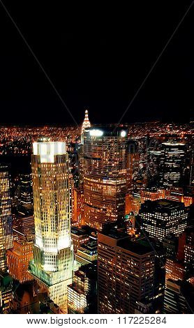 View On Night Manhattan