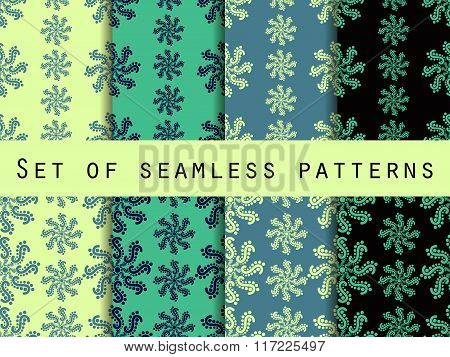 Set Seamless Patterns. Color Mint. The Pattern For Wallpaper, Bed Linen, Tiles, Fabrics, Backgrounds