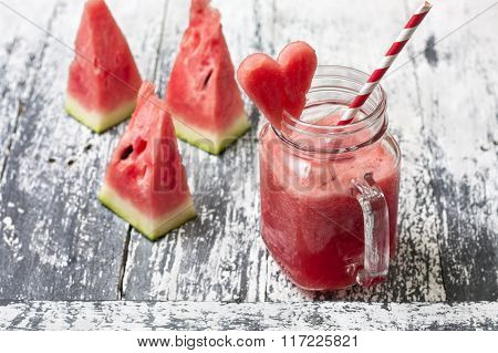 Fresh Watermelon Smoothie In A Mason Jar