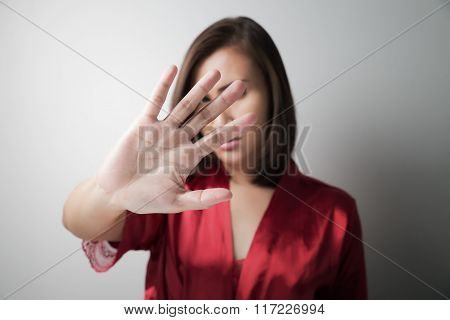 Woman Showing Stop Hand