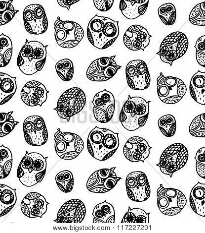 Owls Hand Drawn Seamless Pattern