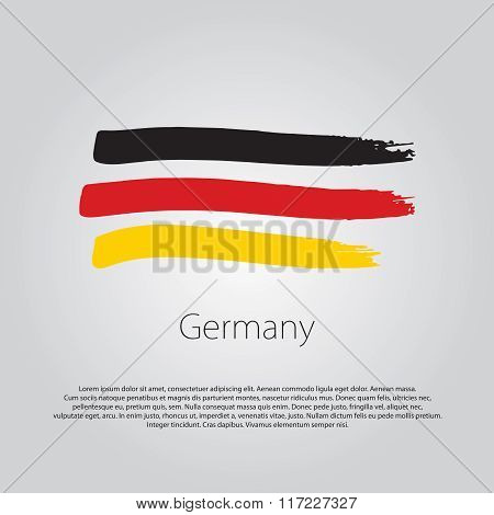 Germany Flag With Colored Hand Drawn Lines In Vector Format