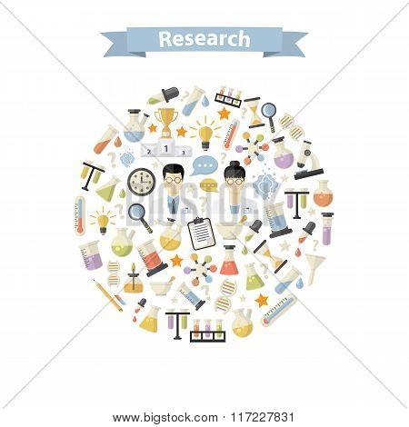 Research Web Icons in circle