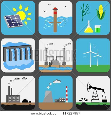 Energy Sources Vector Icons Set
