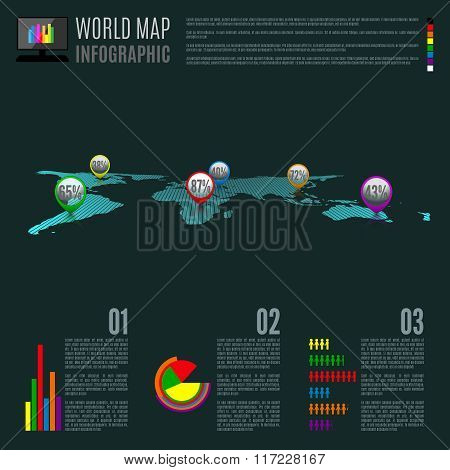 Vector Abstract Map Infographic Illustration.