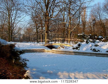 Winter in the city park.