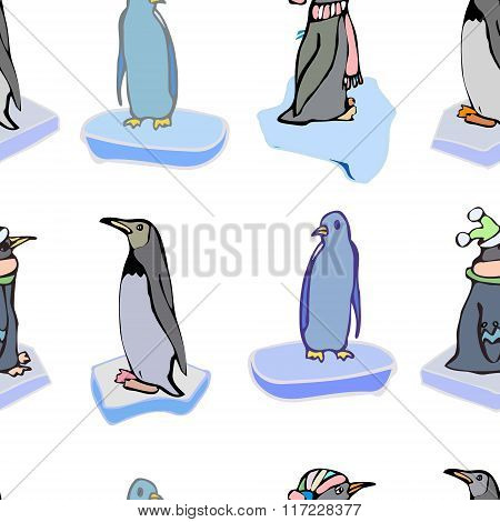 The penguins on ice floes. Vector pattern. Christmas