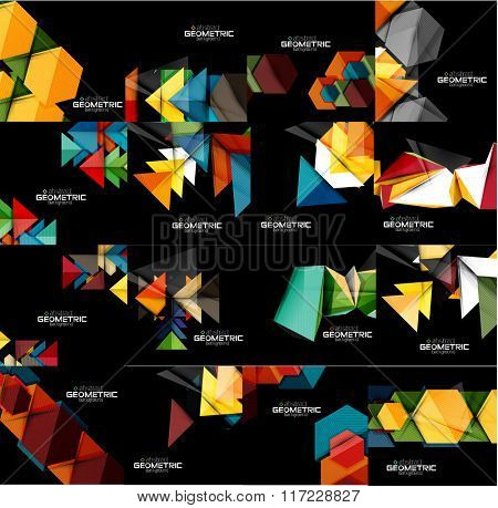 Set of geometrical abstract black backgrounds with multicolored shapes