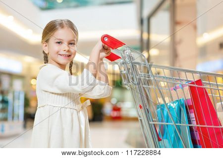 Little cute girl is responsible for shopping.