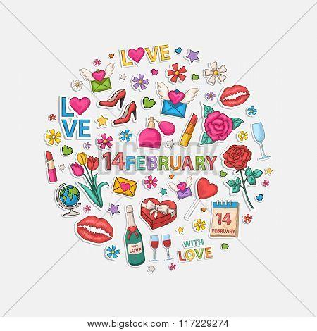 February set  in circle