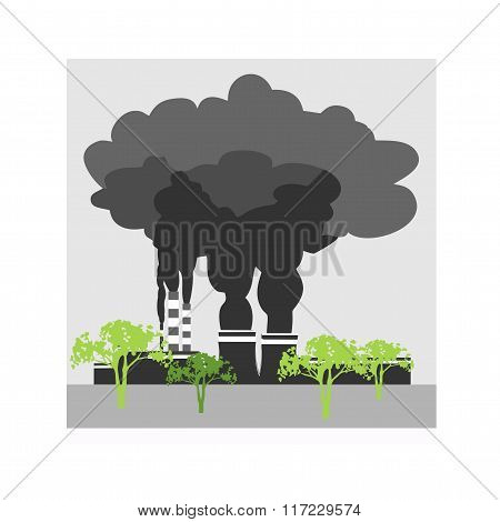 Factory pollutes the environment from the exhaust pipe