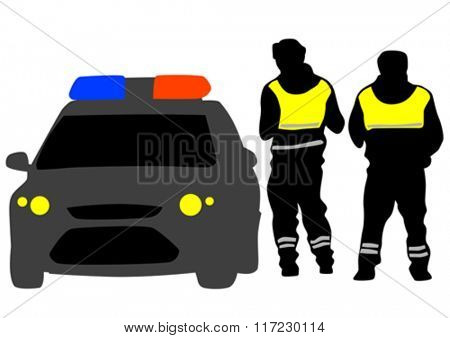 Police car and people on white background