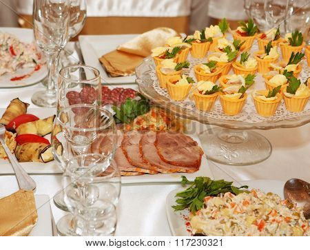 banquet table with food