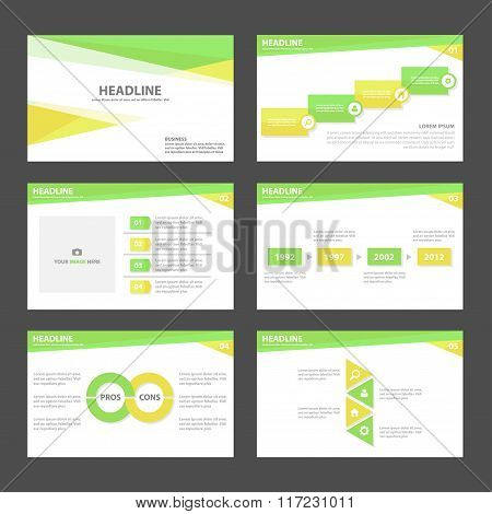 Green yellow presentation templates Infographic elements flat design set